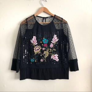 Desigual Black Floral Embroidered blouse